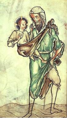 Libro dei Salmi, Westminster, San Cristoforo, dettaglio. 1250 ca